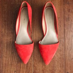 Madewell Suede Flats in Candy Apple Red